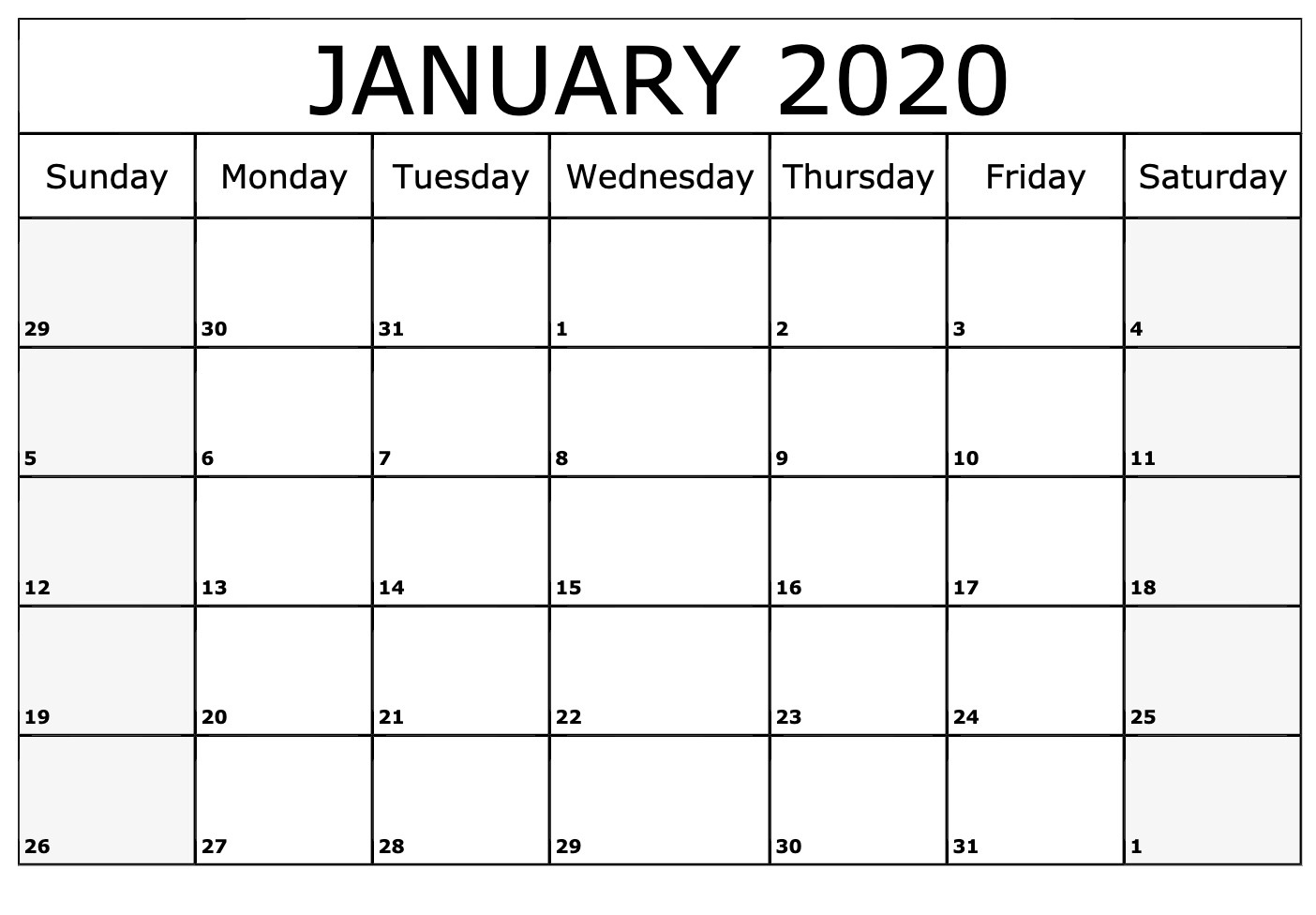 Printable January Calendar For 2020