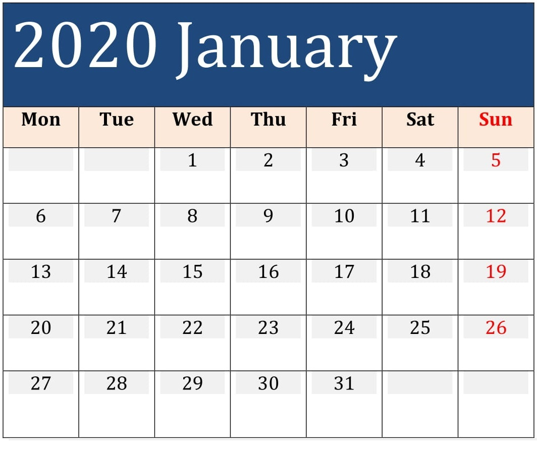 Printable January Calendar For 2020 Excel