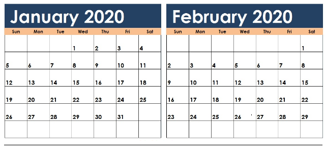 Printable January Calendar For 2020 Images