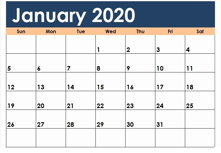 Printable January Cute Calendar For 2020