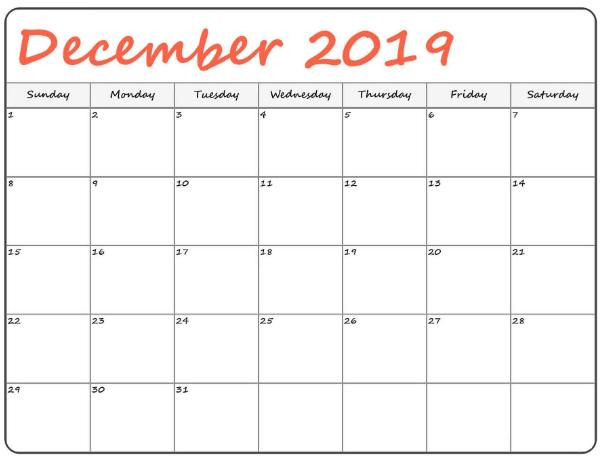 USA Calendar For December 2019