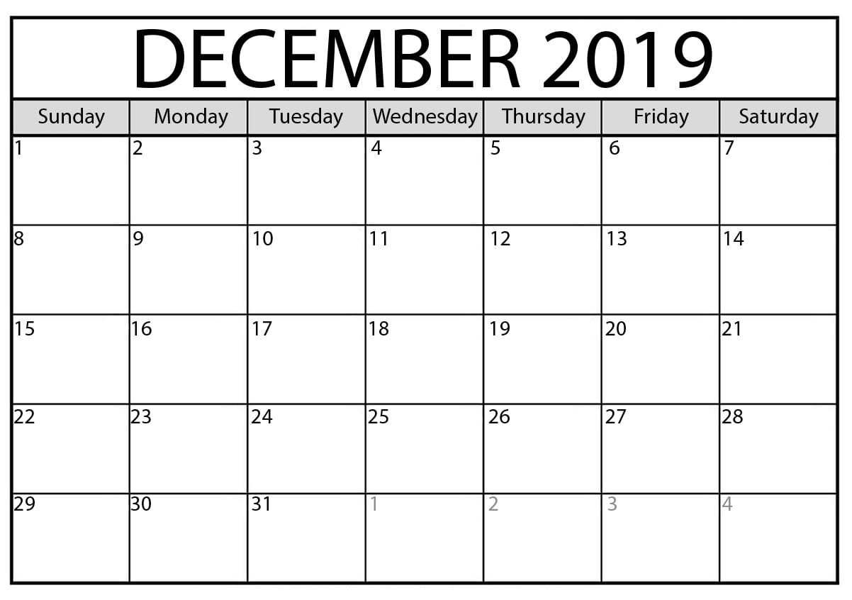 Unique Calendar For December 2019