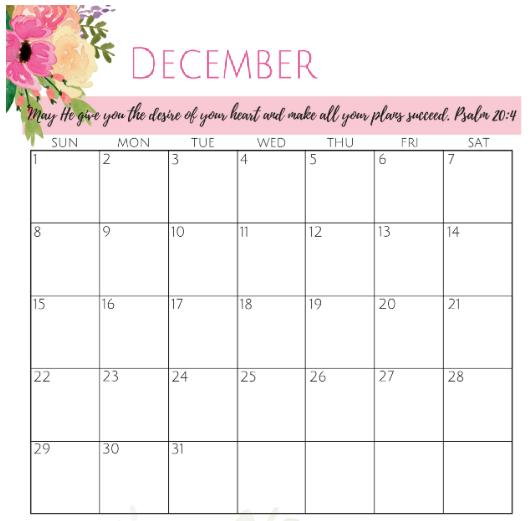 Word Calendar For December 2019