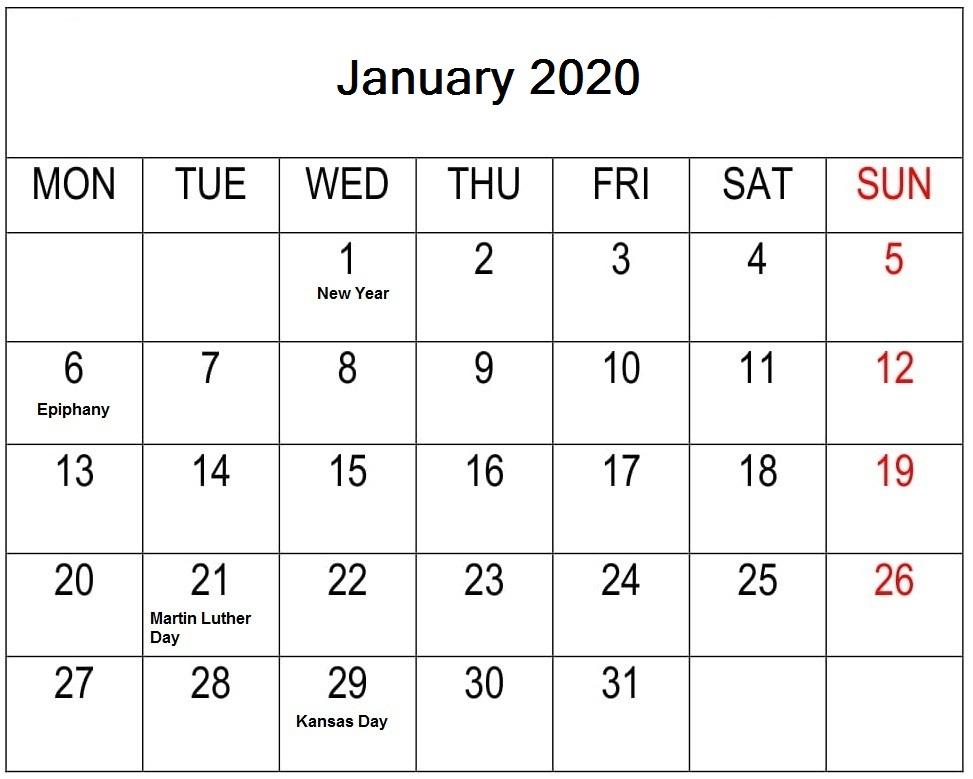 Word January 2020 Calendar Printable