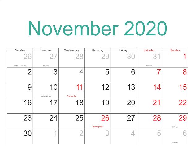 2020 November Calendar Cute