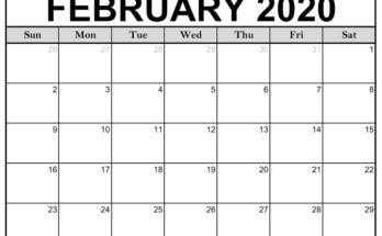 Blank February 2020 Calendar Excel