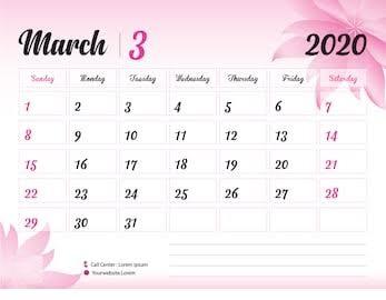 Cute 2020 Calendar March