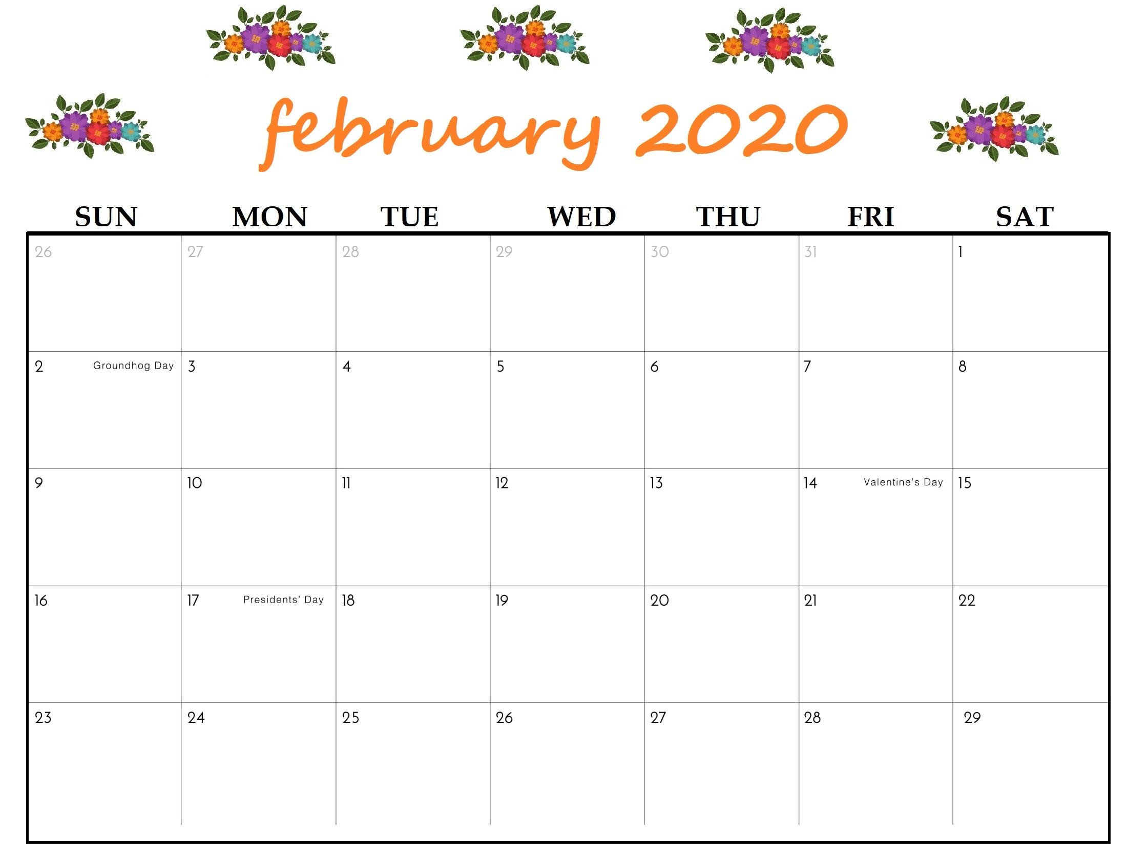 Cute 2020 February Calendar