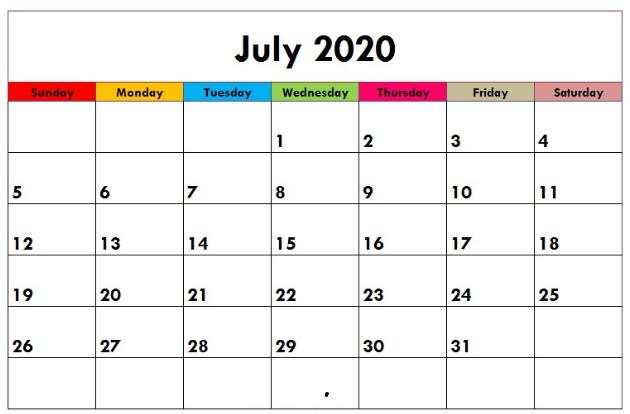 Cute 2020 July Calendar