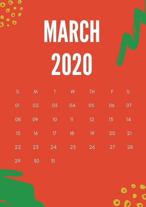 Cute 2020 March Calendar