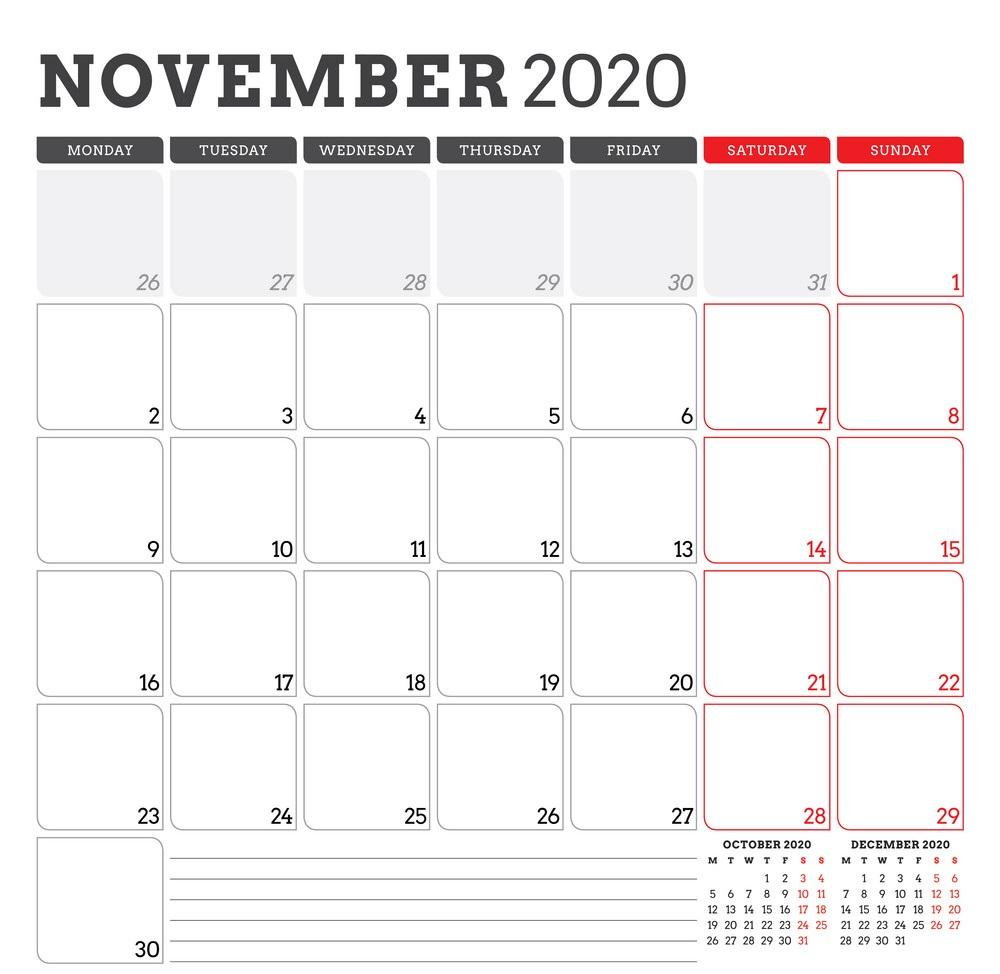 Cute 2020 November Calendar Design