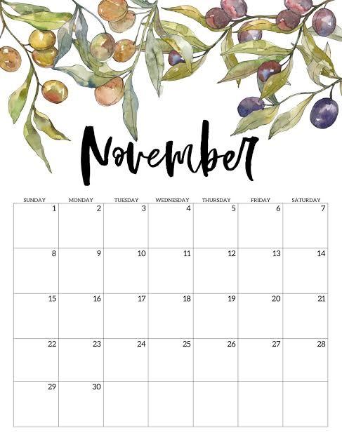 Cute 2020 November Calendar