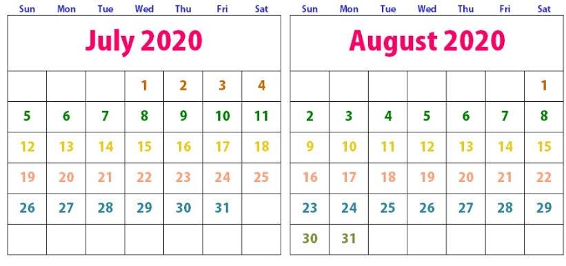Cute August 2020 Calendar Blank