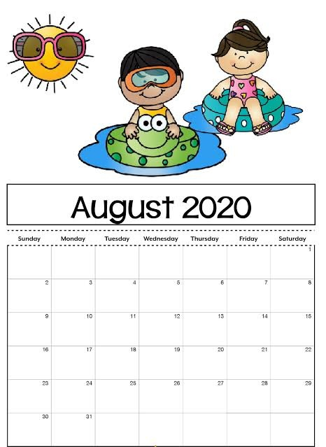 Cute August 2020 Calendar For Children