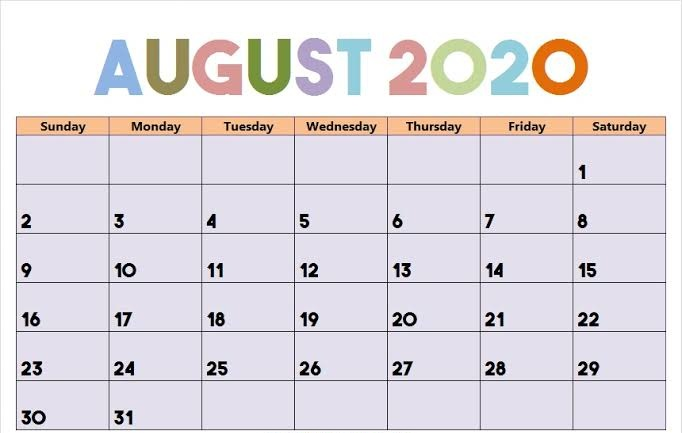 Cute August 2020 Calendar For Office