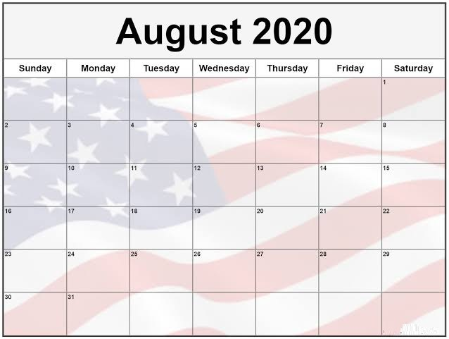 Cute August 2020 Calendar Vertical