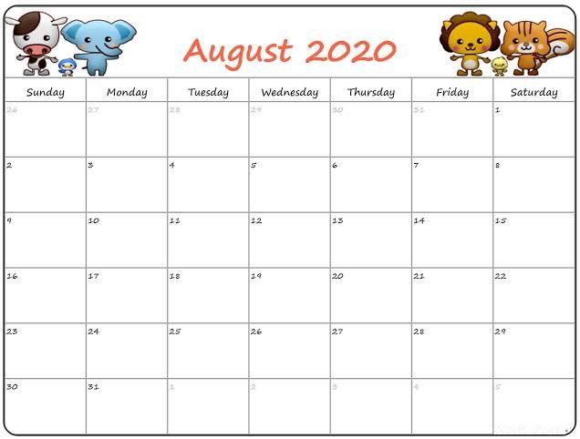 Printable Calendar August 2020.Cute August 2020 Calendar Smart Trip Planner Free