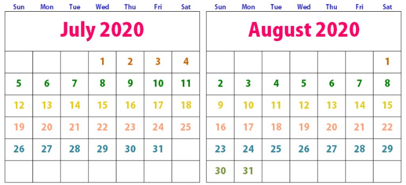 Cute Calendar 2020 July