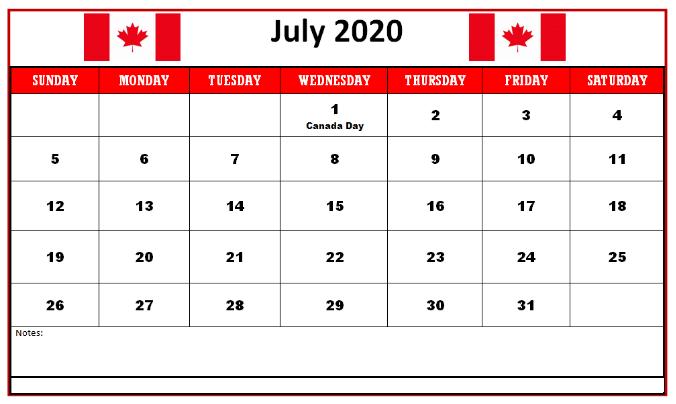 Cute Calendar July 2020