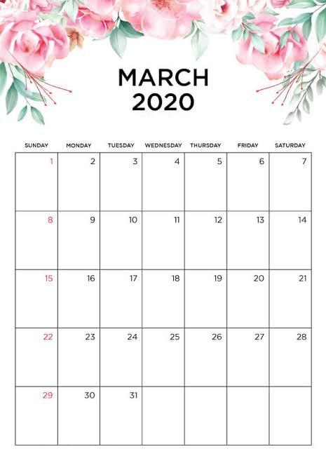Cute Calendar March 2020