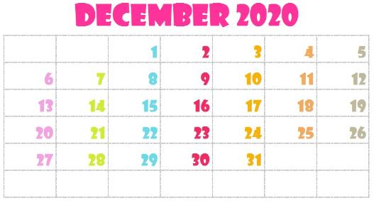 Cute December 2020 Calendar Singapore