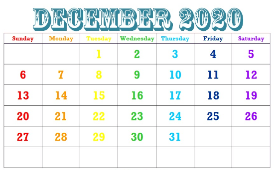 Cute December 2020 Calendar With Holidays