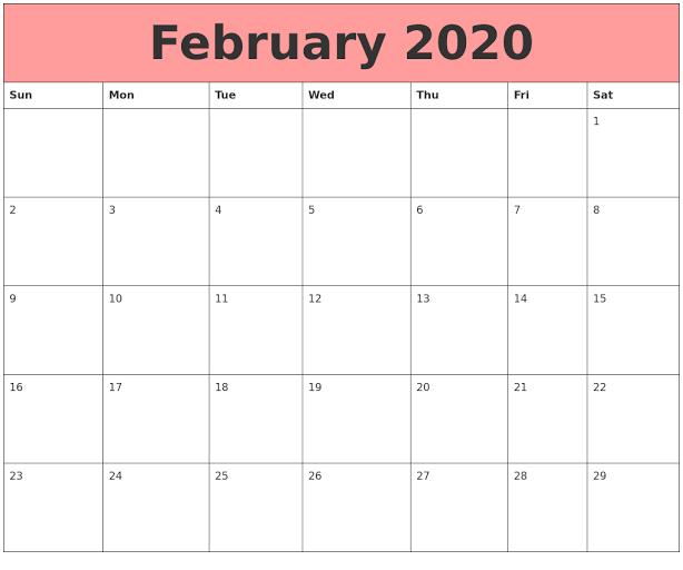 Cute February 2020 Calendar