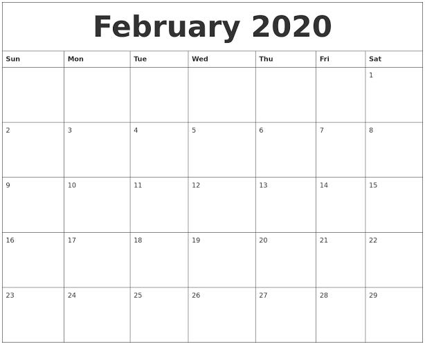 Cute February 2020 Calendar For School