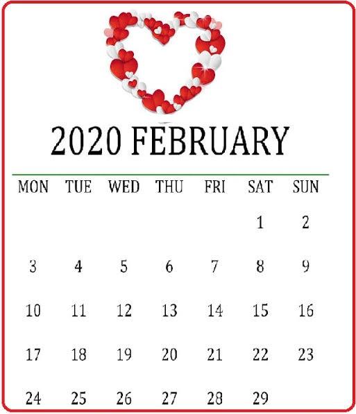 Cute February 2020 Calendar Landscape