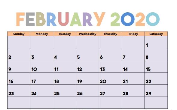 Cute February 2020 Calendar Layout