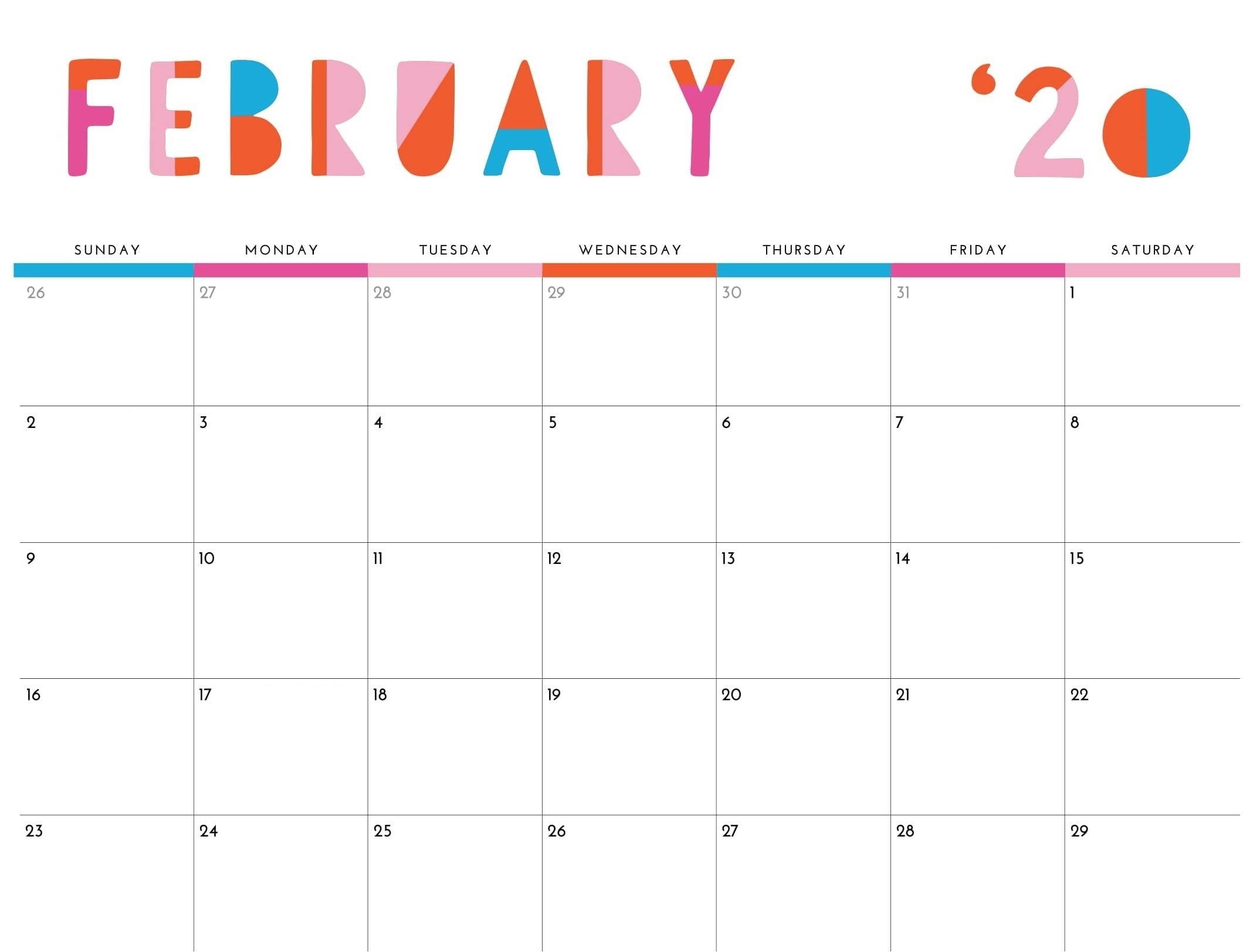 Cute February 2020 Calendar With Holidays