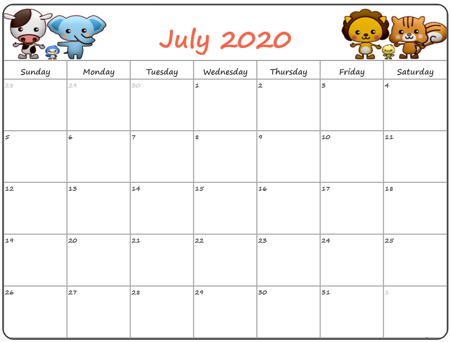 Cute July 2020 Calendar For Kids