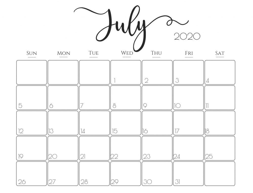 Cute July 2020 Calendar PDF