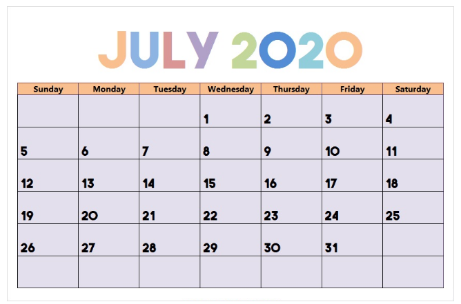 Cute July Calendar 2020