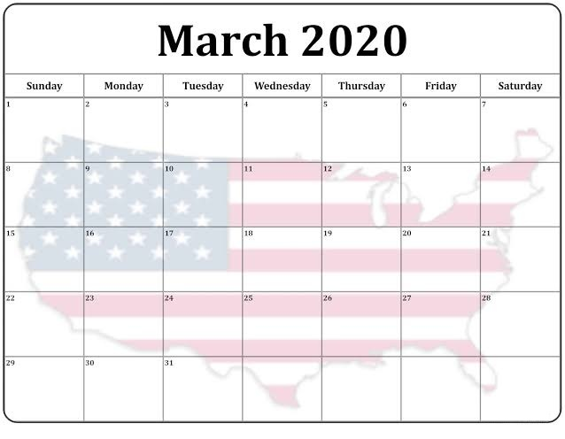 Cute March 2020 Calendar Black And White