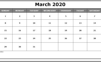 Cute March Calendar 2020