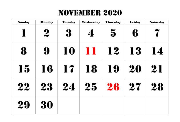 Cute November Calendar 2020