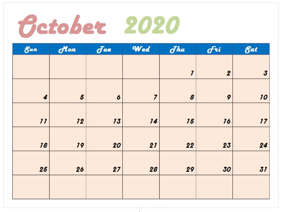 Cute October 2020 Calendar Landscape