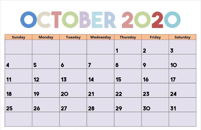 Cute October 2020 PDF Calendar