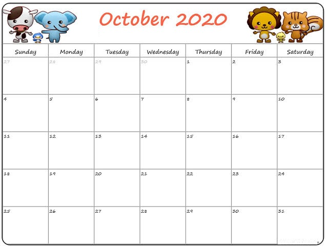 Cute October 2020 Template Calendar