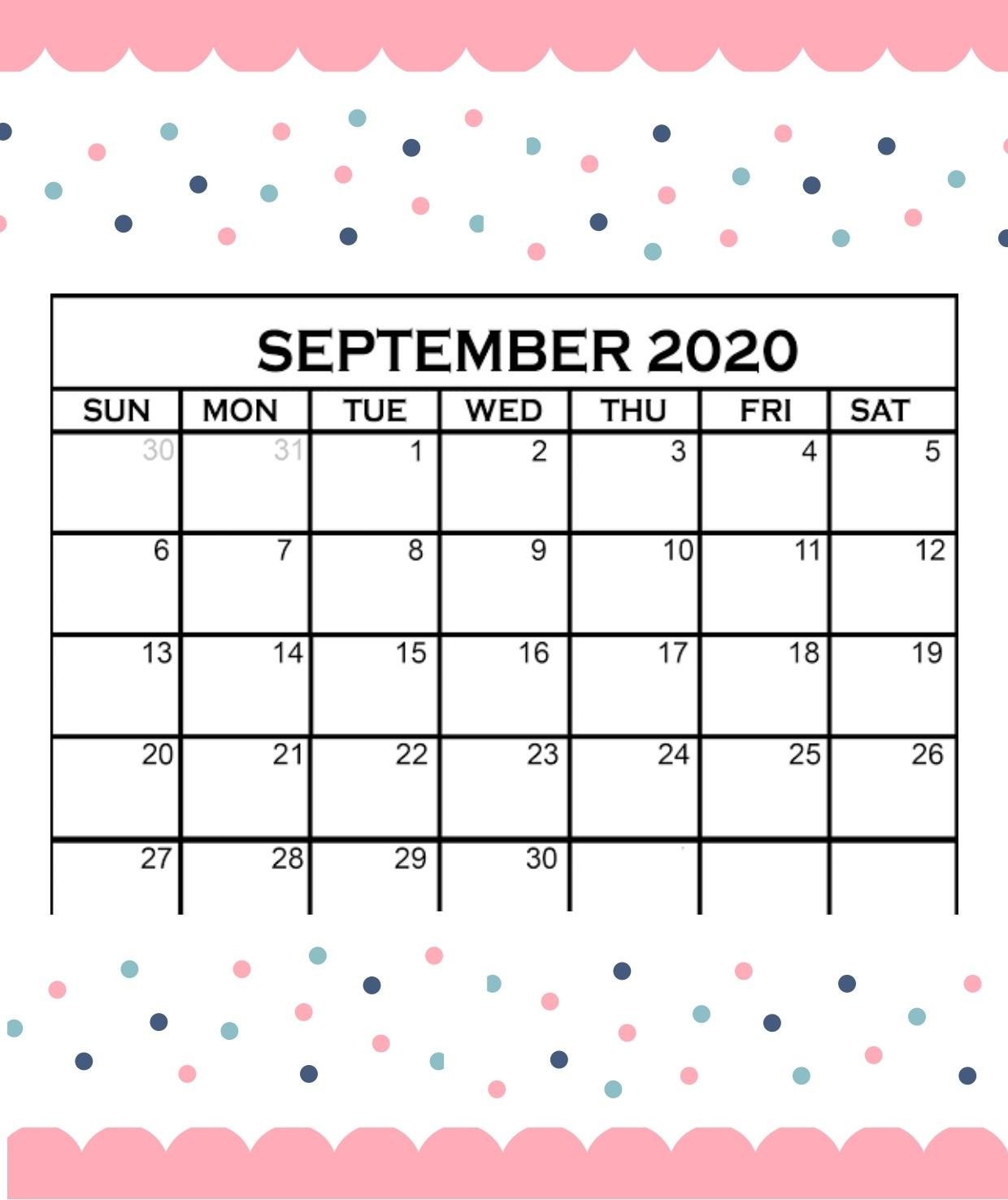 Cute September 2020 Calendar 2020