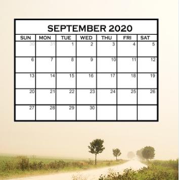 Cute September 2020 Calendar PDF