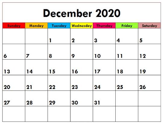 Free Cute December 2020 Calendar