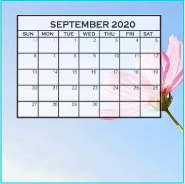 Free Cute September 2020 Calendar