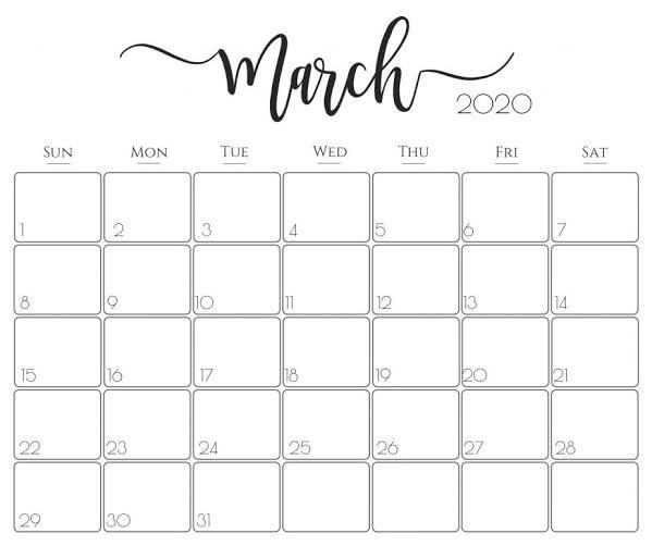 Calendar Uf Fall 2020.March 2020 Calendar