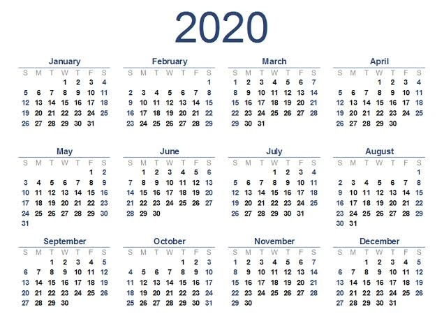 Monthly Printable 2020 Calendar