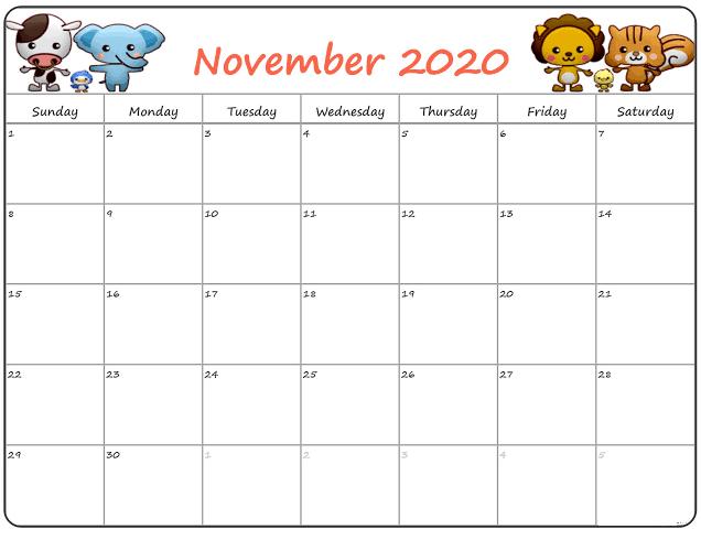 November 2020 Calendar Cute