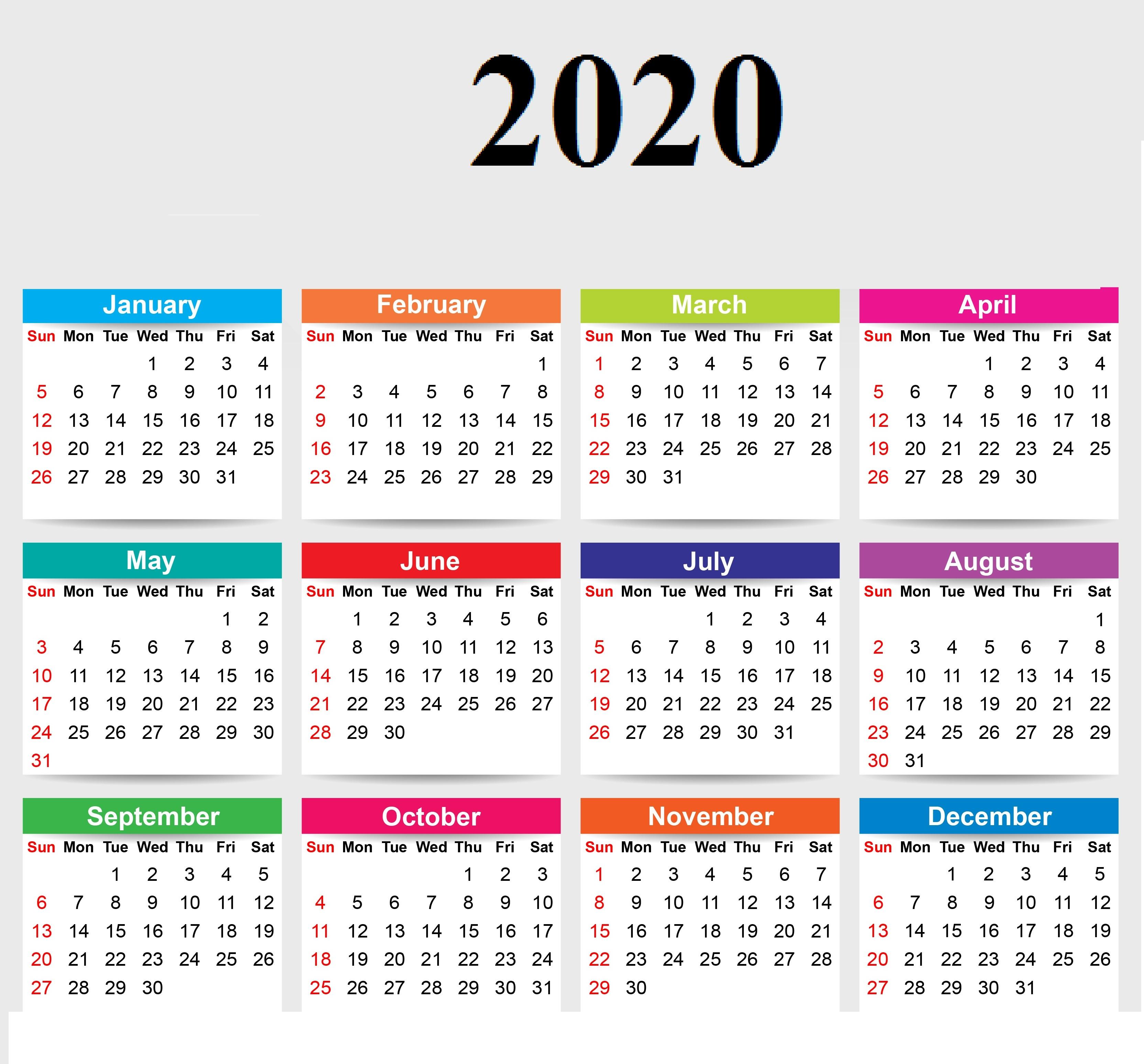 PDF Yearly 2020 Calendar