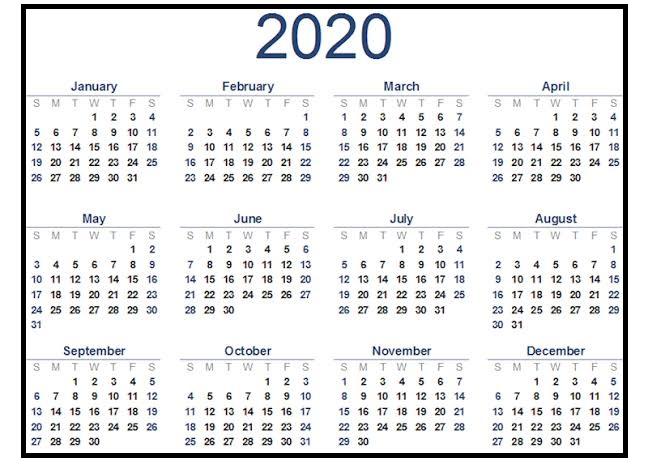Printable 2020 Calendar Daily