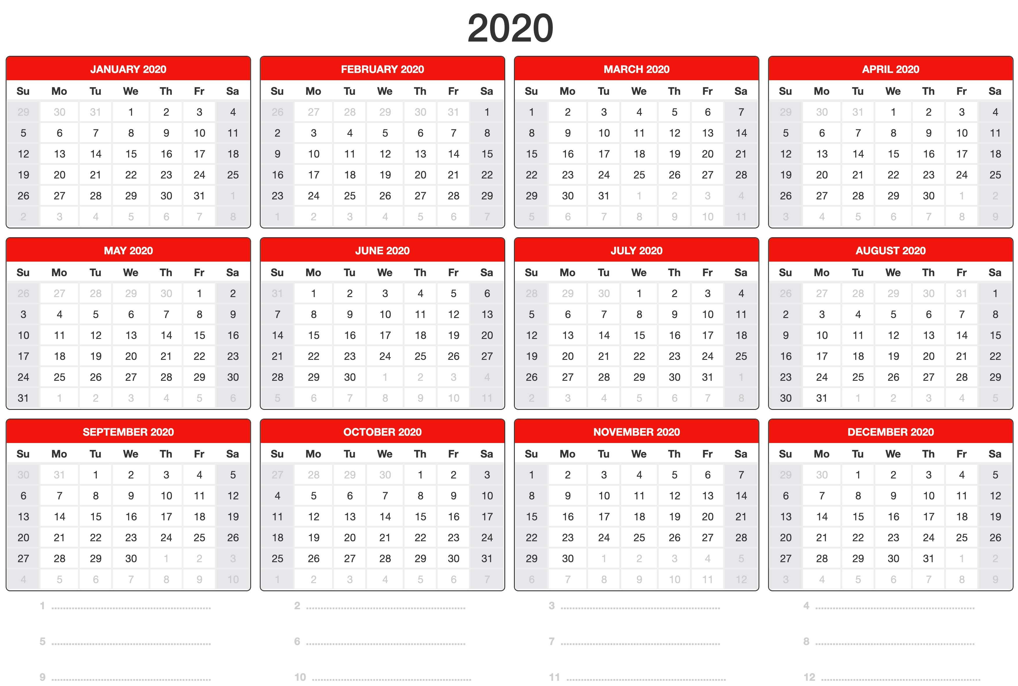 Printable 2020 Calendar Desktop